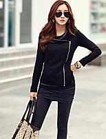 Women's Solid Black Coat , Casual Long Sleeve