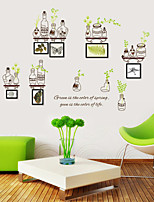 Wall Stickers Wall Decals Style Green Leaf Bottle Frame PVC Wall Stickers