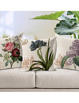 Set of 3 Country Style Flowers Patterned Cotton/Linen Decorative Pillow Covers