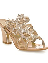 Women's Shoes Chunky Heel Peep Toe Sandals Outdoor/Office & Career/Dress Blue/Gold
