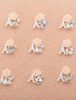 10Pcs/Set Lovely Unique Design Diamond 3D Alloy Nail Art Decoration(Assorted Color)