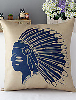 Country Style Traditional Indian People Cotton/Linen Decorative Pillow Cover