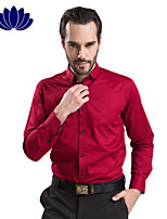 100% Cotton Red Men Shirts Black Button Long sleeve Pure Color  Printed Inner of Shoulder Collar Cuff(6207)