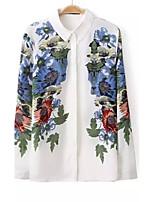 Women's Casual/Work Micro-elastic Long Sleeve Regular Shirt (Chiffon)