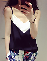 Women's Black And White Color Matching Joker Deep V-Neck Condole Belt Vest