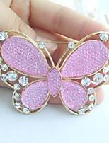 Women Accessories Gold-tone Pink Rhinestone Crystal Brooch Art Deco Butterfly Brooch Bouquet Women Jewelry