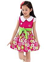 Girl's Summer Sleeveless Doll Collar Bow Belt Printing Floral Sundress (Cotton Blends)