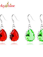 Fashion Drop Fire Red Quartz Green Quartz Gem Prong Setting Earring Drop Earrings For Wedding Party Daily 1pair