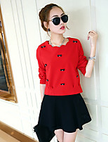 Women's Red Casual Long Sleeve