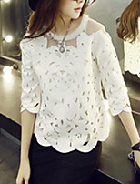 Women's Sexy Casual Lace Cute Inelastic ¾ Sleeve Regular Shirt (Lace/Organza)
