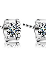 925 Sterling Silver Square Four Claws Only Crystal Stud Earrings