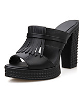 Women's Shoes Leather Chunky Heel Heels/Peep Toe Slippers Outdoor/Office & Career/Dress/Casual Black