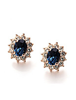 T&C Women's Lovely Blue Crystal Sun Flower Stud Earrings 18K Rose Gold Plated Fashion Jewelry