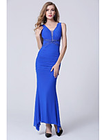 Formal Evening Dress - Royal Blue Sheath/Column V-neck Floor-length Polyester