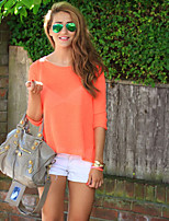 Women's Solid Orange Blouse , Casual Round Neck ¾ Sleeve