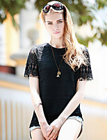 Women's Sexy/Casual Micro Elastic Short Sleeve Regular Blouse (Lace)