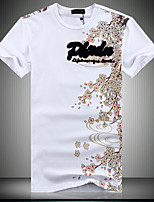 Men's Casual Slim Pattern Printed T-Shirt , Cotton / Polyester Casual / Plus Sizes Print
