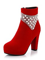 Women's Shoes Fleece Chunky Heel Platform/Fashion Boots/Bootie Boots Dress Black/Red