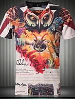 T-shirt Uomo Casual Con stampe Manica corta Cotone/Elastico/Lavorato a mano