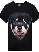 Men's 3D Rottweiler Lovina Cotton T-Shirt  Fashion&Casual 3D Vivid Printing Short Sleeve Black  with O-Neck