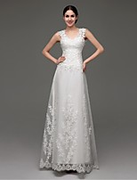 A-line Sweep/Brush Train Wedding Dress -Straps Satin