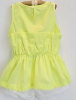 Fluorescent Color Vest + White Shorts Girls Suits (2pcs)