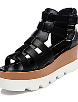Women's Shoes Leatherette Wedge Heel Wedges/Peep Toe Sandals Dress Black/White