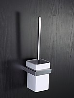 Wall Mounted Square White Ceramic Toilet Brush Holder with Black Toilet Brush