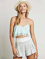 Women's Sexy Casual Lace Plus Sizes Inelastic Sleeveless Short Blouse (Chiffon)