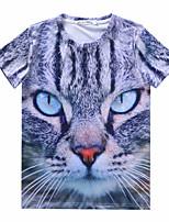 European Style TEE Digital Printing 3D T-shirt Striped Kitten Harajuku Sleeved T-shirt