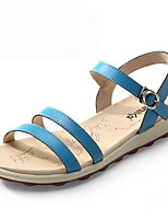 Women's Shoes Leather Flat Heel Comfort Sandals Office & Career/Athletic/Casual Blue/Beige/Orange