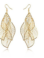 European (Hollow Fringed Leaves) Golden Alloy Drop Earrings