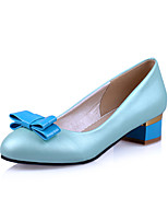 Women's Shoes PU Fall Heels / Office & Career / Casual Chunky Heel Bowknot / Applique Blue / Pink / White