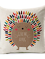 Colorful Balloon Colorful Hedgehog Patterned Cotton/Linen Decorative Pillow Cover