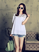 Women's Solid White T-shirt , Round Neck Short Sleeve Lace
