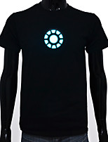 Rechargeable Battery Included Light Up LED EL T-shirt Iron Man 1 Adjustable Sound Activated and Multiple Flashing Modes