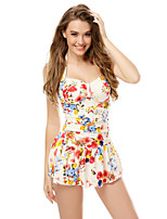 Women's Floral/Ruffle/Bandage Straped Tankinis (Polyester/Spandex)