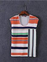 Women's Fashion Summer Casual/Striped Print Inelastic Sleeveless Regular Vest T shirt (Chiffon)