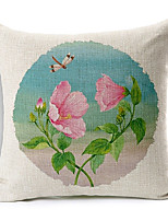 Country Flowers Love Patterned Cotton/Linen Decorative Pillow Cover