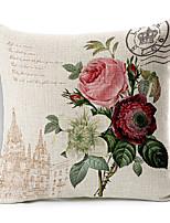roses de style de campagne coton à motifs / lin taie d'oreiller décoratif