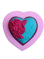 Bakeware Silicone I LOVE YOU Rose Fondant Mold Cake Decoration Mold