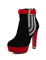 Women's Shoes Fleece Stiletto Heel Platform/Combat Boots Boots Casual Black/Red