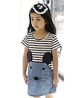 Girl's Lovely Stripe and Cartoon Jean Splicing Dresses