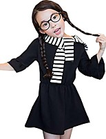 Kids Girl's Spring Fall Solid Color with Striped scarf ¾ Sleeve Party A-line Dress (Cotton Blend)