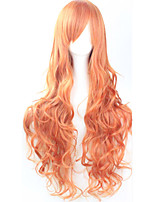 Cos Anime Bright Colored Wigs Orange Curly Hair Wig 80 cm