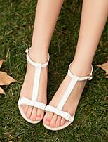 Zapatos de mujer Cuero Tacón Plano Plataforma/Mary Jane Sandalias Casual Blanco/Bronceado