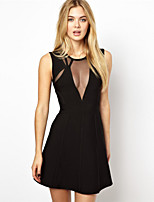 Black Cocktail Party Dress Sheath/Column V Neck Short/Mini Nylon Taffeta Bandage Dress