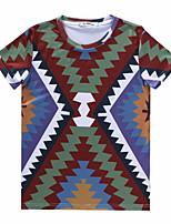 European Style TEE Digital Printing 3D T-shirt Colorful Stripes Harajuku Sleeved T-shirt