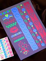 2015 New 4PCS Fluorescent Temporary Tattoo Sticker Body Art Painting Jewelry Necklace Taty Fake Tatto