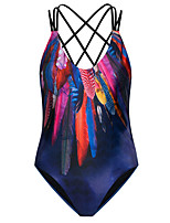 Women's Halter One-pieces , Floral Wireless Polyester Multi-color